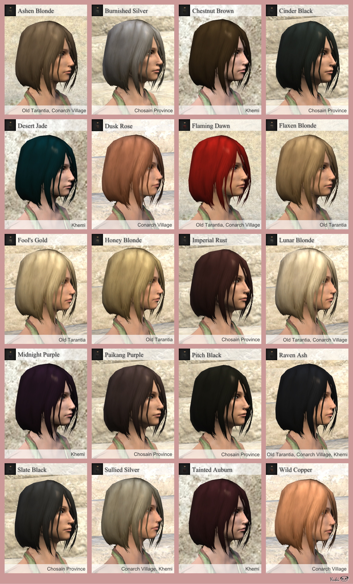 Hairdye Color List  Henryx  Age Of Conan Blog